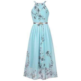 Hequ Women Summer Chiffon Floral Print Sleeveless Party DressesBeach Boho Dress With Belt Sundress Green
