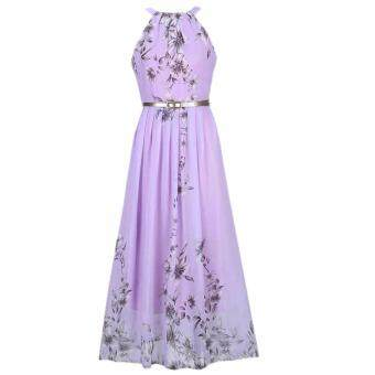 Hequ Women Summer Chiffon Floral Print Sleeveless Party DressesBeach Boho Dress With Belt Sundress Purple