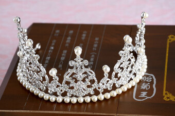 High-grade bride headdress wedding pictures bride big CROWN Queen Pearl diamond wedding photography with jewelry free shipping (HG silver)
