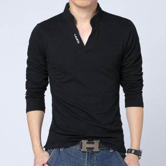Hot Sale New 2017 Fashion Brand Men Polo shirt Solid Color Long-Sleeve Slim Fit Shirt Men Cotton polo Shirts Casual Shirts (Black)