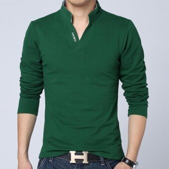 Hot Sale New 2017 Fashion Brand Men Polo shirt Solid Color Long-Sleeve Slim Fit Shirt Men Cotton polo Shirts Casual Shirts (Green) - intl
