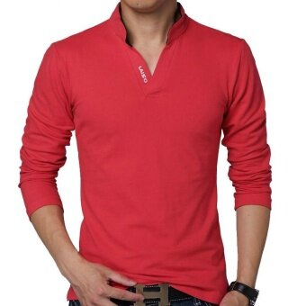 Hot Sale New 2017 Fashion Brand Men Polo shirt Solid Color Long-Sleeve Slim Fit Shirt Men Cotton polo Shirts Casual Shirts (Red) - intl