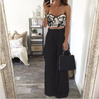 Hot Women Sexy Party Cocktail High Waist Casual Chiffon Wide Leg Pants Trousers Black
