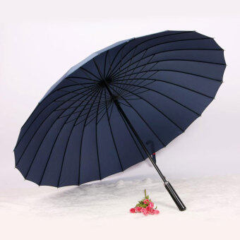 Huge Wind-Proof 24-Bone Straight Colorful Outdoor Umbrella (24 bone dark blue)