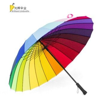 Huge Wind-Proof 24-Bone Straight Colorful Outdoor Umbrella (24 bone rainbow colored)