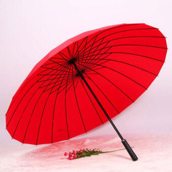 Huge Wind-Proof 24-Bone Straight Colorful Outdoor Umbrella (24 bone red)