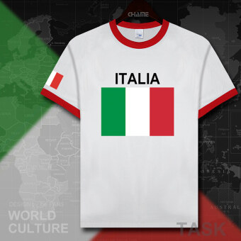 Italy football cotton T-shirt short sleeved men Jersey dress shirt (Contrasting color collar red edge black word)