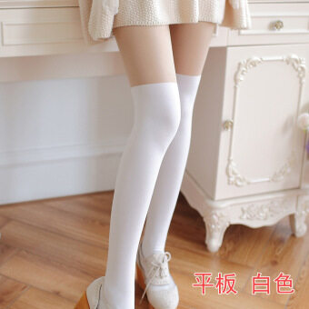 Japanese-style Swan Velvet over-the-knee anti-bottoming pantyhose stockings (Flat plate * under the skin on the white) (Flat plate * under the skin on the white)