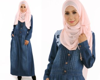 JF Fashion Haniza Denim Jean Jubah Dress E5801 (Dark Blue)