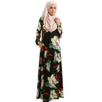 JF Fashion Hayana Floral Printed Jubah M396 (Black)