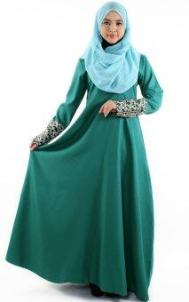 JF Fashion Long Sleeve Jubah Dress with Front Zipped C347(Pint-Green)