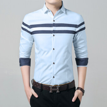 JK men's Slim fit long-sleeved shirt (1508 sky blue) (1508 sky blue)