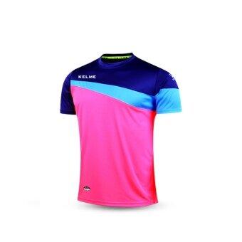 Kelme K15Z219 Men Short Sleeve Football Jersey (Rose Navy Blue Fluorescent Blue)