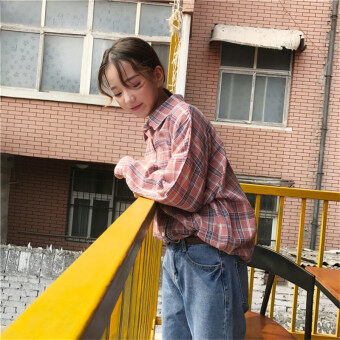 Korea ulzzang Harajuku style BF autumn Women's wild red Blue plaid pockets loose long-sleeved shirt Top