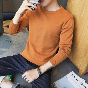 Korean-style autumn Slim fit round neck solid color sweater (Yellow (solid color models))