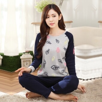 Korean-style cotton women's cotton long-sleeved tracksuit pajamas (3604 fish bone) (3604 fish bone)