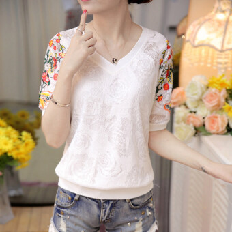 Korean-style embroidered New style female chiffon shirt lace shirt (White)