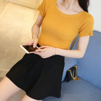 Korean-style horizontal neck short sleeved Slim fit sweater knit shirt (Yellow) (Yellow)
