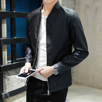 Korean-style Leather Spring and Autumn New style jacket men's jacket (Black)