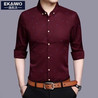 Korean-style men long-sleeved Slim fit shirt men's shirt (Red Wine)