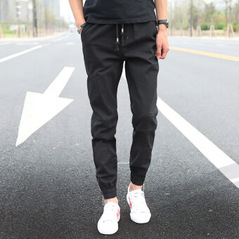 Korean-style men's Slim fit casual pants men pants (Black)