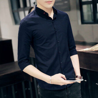 Korean-style men's Slim fit student collar short sleeved shirt sleeve shirt (Dark blue)