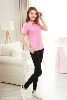 Korean-style new New style short sleeved shirt (Pink)