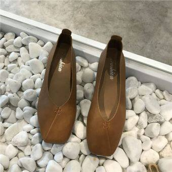 Korean-style retro college style square head flat shoes and comfortable wild grandmother shoes shallow mouth peas LR shoes (Brown)