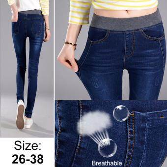 Korean Style Sexy Jeans Women Casual High Waist Elastic Denim Long Pencil Pants Lady Trousers (Navy Blue)