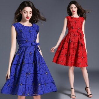 Korean-style sleeveless high-waisted slimming A-line dress (Red)