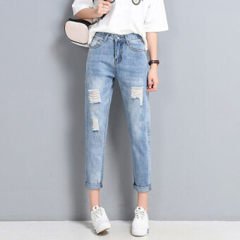 Korean-style Slim fit high-waisted Plus-sized denim pants with holes denim pants (Light Blue)