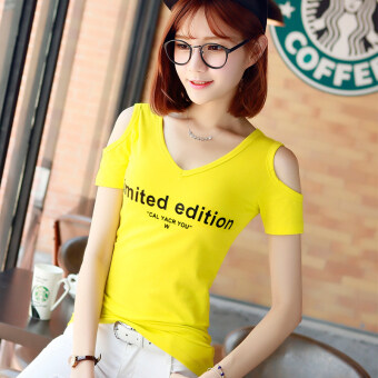 Korean-style Slim Fit off-the-shoulder short sleeved Top T-shirt ([] Yellow v-neck edition) ([] Yellow v-neck edition)