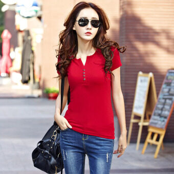 Korean-style solid color v-neck short sleeved t-shirt base shirt (Black) (Black)