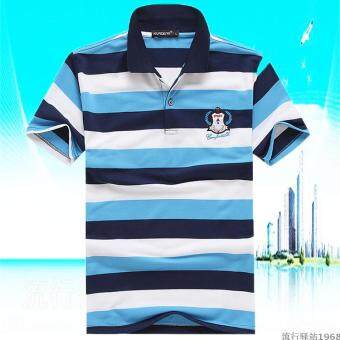 Korean-style Striped short sleeved Fold-down collar T-shirt (Sky blue color)