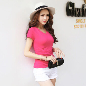 Korean-style white women slim fit bottoming shirt solid color short-sleeved t-shirt (Rose v-neck) (Rose v-neck)