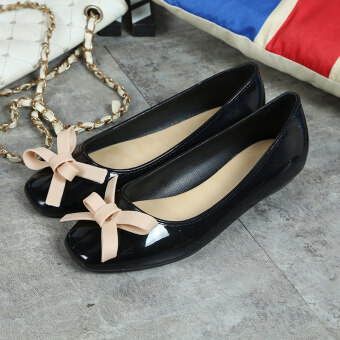 Korean-style Women's Easy Square Head Square Buckle Shallow Mouth Flat Shoes (Black bow)