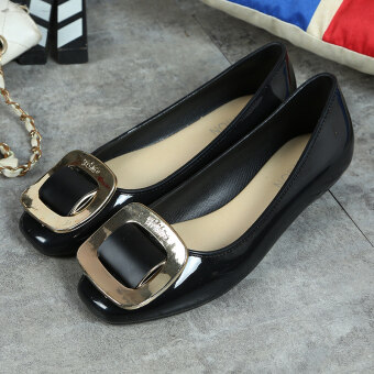 Korean-style Women's Easy Square Head Square Buckle Shallow Mouth Flat Shoes (Black square buckle)