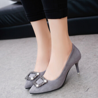 Korean-style Women's Rhinestone-decorated Pointed Toe Square Buckle Suede Stiletto (Gray)