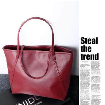 Kstyle Korean Style PU Saffiano Effect Shopper Tote Bag (Red)