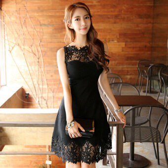 Lace lace Slimming effect Slim fit high waist sleeveless dress