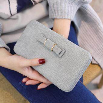 Ladies Long Bowknot Flap Bag PU Leather Wallet Phone BoxClutch Bag Women High Capacity Handbag Cute Coins PurseMultiple Card Holder (Grey)