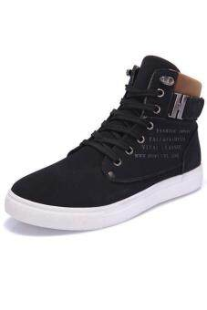 LALANG Casual Men High Cut Canvas Shoes Sneakers Sports Black