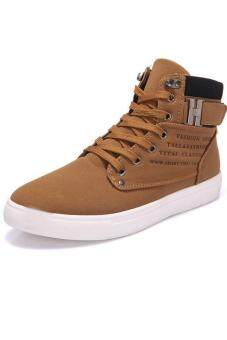 LALANG Casual Men High Cut Canvas Shoes Sneakers Sports Khaki