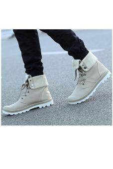 LALANG Men Canvas PU Boots High Cut Tube Down Sneaker Shoes Khaki