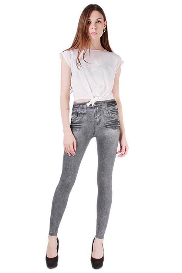 LALANG Women Sexy Seamless Skinny Leggings Tight Jeans Grey ...