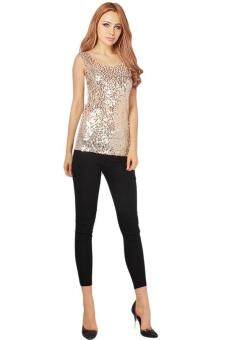 LALANG Women Spangle Sequin Glitter Tank Top Vest SleevelessT-Shirt Gold