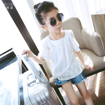 Large White children's Short sleeve short sleeved bottoming shirt T-shirt