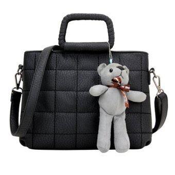 levoue korean design cross body sling bag with bear black lazada malaysia. Black Bedroom Furniture Sets. Home Design Ideas
