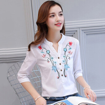 LOOESN Korean-style cotton linen short sleeved half sleeved Top embroidered shirt (White color (half sleeved))