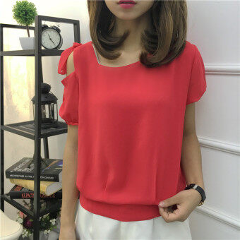 LOOESN Korean-style female v-neck short sleeved chiffon shirt waist hugging Top (Red)
